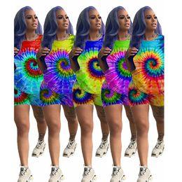 $enCountryForm.capitalKeyWord Australia - Women Plus Size Tracksuit Print Tie Dye T-shirt Shorts Sports Suit Trendy shirt Pant 2 piece Sportswear Summer Clothing Outfits LJJA2502
