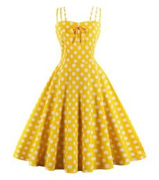 rockabilly pin up UK - Summer Women Hepburn Dresses yellow Retro Cotton Robe Vintage Dresses 50s 60s Rockabilly Pin Up Polka Dot Swing