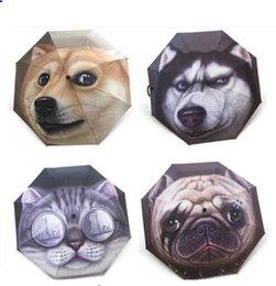 3D животных печати зонтики автоматическая кошка собака печати дождь три складной зонтик анти УФ открытый путешествия зонтики LJJK1380