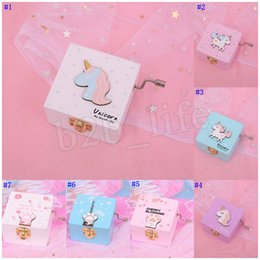 Shake boxeS online shopping - 7styles Unicorn Music Box Hand Shake Girl Eight Tone Boxes Boutique Square Tabletop Lovely Musical desk Decorative MMA2437