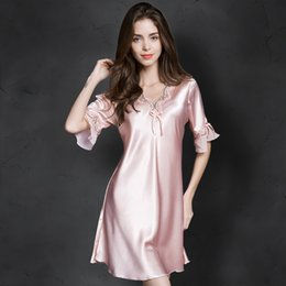sexy sleeping dress satin Australia - Women Sexy Silk Satin Night Gown Cami Short Sleeve Nightdress Lace Sleep Dress V-neck Nighties Night Shirt Sleepwear Nightwear