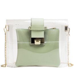 Bag Teeth Australia - Briefcase Transparent Women 2019 New Type Lock Beach Bag One Shoulder Slant Tooth Special Bag Small Fragrance Chain Jelly Bag