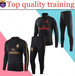 Red spoRtsweaR online shopping - Top quality Real Madrid tracksuit adult soccer chandal football tracksuit adult training suit skinny pants Sportswear