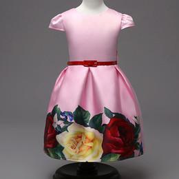 Chiffon Fluffy Dresses Australia - Children's skirt Retro girl print waist bow princess fluffy dress children's dress wholesale