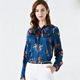 Chinese  2019 100% Pure Silk Women's Runway Shirts Bow Collar Long Sleeves Floral Printed Elegant Blouse Shirts manufacturers