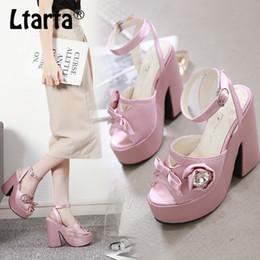 Knotted Sandal Australia - LTARTA Sandals with Thick Sole Bow Knot Women Shoes High Heels Sandals Women Platform Chunky Heels JXQ-P30