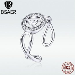 jewelry set letter 2019 - BISAER Iinitial Rings 100% 925 Sterling Silver Letter A Personality Adjustable Finger Rings For Women Statement Jewelry