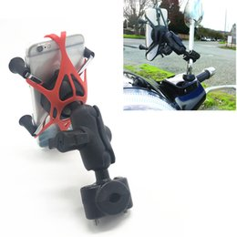Cell phone holder mirror online shopping - Motorcycle Motorbike Bicycle Rearview Mirror Mount with x grip phone holder for ram mount for smartphone cell phone