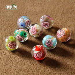 Gold Sand Lampwork Wholesale Australia - 12mm Handmade Lampwork Flower Round Beads Gold Sand Loose Spacer Glass Beads Multi Color For Jewelry Making 1626