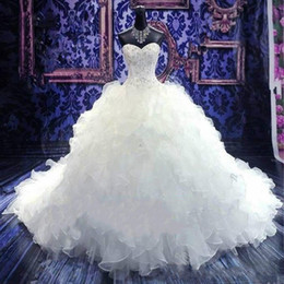 Bride corsets online shopping - Luxury Beaded Embroidery Wedding Dresses Princess Gowns Sweetheart Corset Organza Cathedral Church Ball Gown Bride Dress