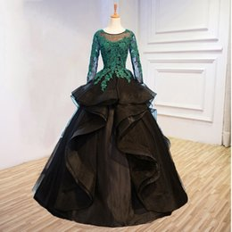 Black Gold Puffy Dress Australia - Middle East New 2019 Evening Dresses Abiye Full Sleeves Puffy Emerald Green Appliques With Black Organza Evening Gowns
