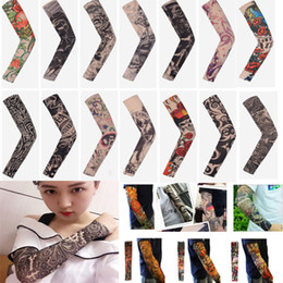 Unisex tattoo designs online shopping - Arts Fake Fake Temporary Tattoo Arm Sunscreen Sleeves Body Arm Sleeve Unisex Protective Sleeve Design Tiger Crown Heart Skull DHL WX9