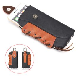 "leather belt holster case NZ - 4 Colours Luxury Vintage Rhino Mountaineering Holster Bag Hook Loop Leather Case Belt Pouch For All Smartphone 5.5"" Below"