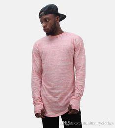 Mens long bottoM t shirt online shopping - Longline Mens Designer T shirts Long Sleeves Gloves Design O neck Bottoming Hiphop Rapper Street Tops