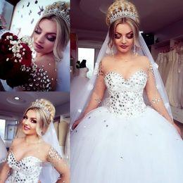 $enCountryForm.capitalKeyWord NZ - 2019 Luxury Beaded Rhinestone Crystals Ball Gown Wedding Dresses Sheer Neck Illusion Sleeves Wedding Gowns Tiered Tulle Bridal Gown