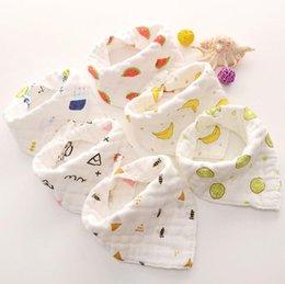 Gauze Scarf Cotton Australia - Fairyshm Eight-Layer Cotton Gauze Triangle Baby Saliva Towel Baby Bib Thick Soft Scarf MY0138