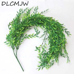 plastic green vines Canada - Artificial Plants Vine Green Plastic plant Leaves Garden Home Decoration plan Artificial grass Fake plant Leaf Green Ivy