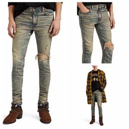 Grey jeans slim fit online shopping - 20ss good quality Mens designer Jeans Slim Fit Grey glitter one knee cracked jeans Biker Denim For Men Fashion Designer amiri Mens Jeans