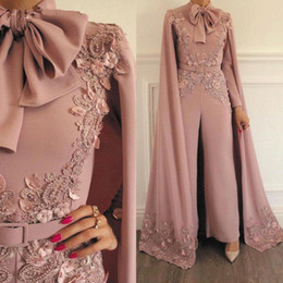 $enCountryForm.capitalKeyWord Australia - Woman Jumpsuit Evening Dresses Vintage Lace Applique Beaded Evening Party Gowns Long Sleeves Floor Length Formal Muslim Arabic Prom Dress