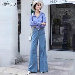 Women Blue Jeans Pants Australia - 2019 Jeans for Women Sky Blue Dark Blue Jeans High Waist Button Full Length Woman Female Washed Denim Wide Leg Pants