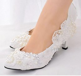 lace embroidered wedding shoe NZ - Women's high heel wedding shoes new large size lace rhinestones pearl embroidered high-heeled fashion shoes Free