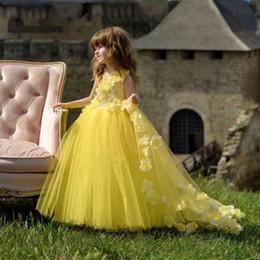 Royal Wedding Yellow Dress Australia - Yellow Flower Girl Dress Birthday Wedding Party Holiday Lace Communion Dresses Custom Made Pageant Dresses For Girls Vestido