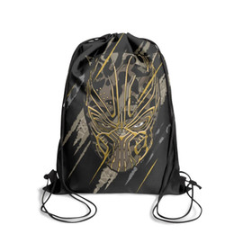 panther chain UK - Drawstring Sports Backpack Marvel Black Panther Movie logo paintingpersonalized convenient Yoga Travel Fabric Backpack