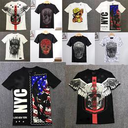 Crystal Heads Australia - HOT PP Print O-neck T-Shirts Mens Brand Short Sleeve Tshirt Designer Tees Males Cotton Fashion Ghost head Crystal sequins Tees Tops Hip hop
