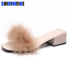 $enCountryForm.capitalKeyWord NZ - Fur Furry Slide Sweet Feather Square heel Bottom Beach Female Sandals Hair Flip Flops Women Home Slippers Outside Soft