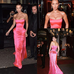 Hot Pink Red Carpet Dresses Australia - Hot Pink Strapless Prom Formal Dresses 2019 Bella Hadid Ruffles Skirt Full length Red Carpet Celebrity Dress Evening Party Gowns