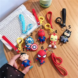 marvel rings Australia - Cartoon Keychain Pendant Marvel Stereo League of Legends Doll Silicone Key Ring Bag Ornaments Captain America IronMan Spiderman Batman DHL
