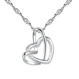 Plate Australia - Elegant Fashion Women Lady Love Double Heart Necklace Pendant Copper Plated Chain Collar Silver Necklace Party Wedding Charm Jewelry Gift