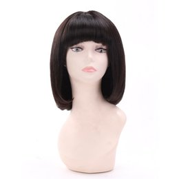 Human Hair Ladies Wigs Australia - Women's on sale bangs new arrival remy virgin human hair short bob natural color natural straight full lace cap wig for lady