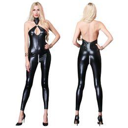 Black Leather Jumpsuits Women Australia - NewStyle Sexy Black Faux Leather Catsuit Costumes For Women Bust Open Crotch Bodysuit Lingerie Fetish Wear Sexy Jumpsuit