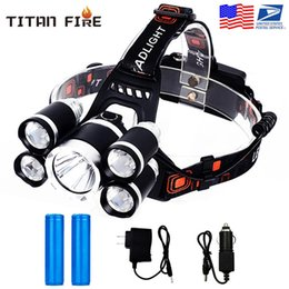 headlamps for hunting UK - 18650 Rechargeable Waterproof Headlamps Flashlight T6 Head Torch Light for Hunting Fishing Running DIY Work Camping