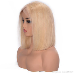$enCountryForm.capitalKeyWord UK - Black 150% density lace front wig 613 blonde short hair Bob straight hair wig Brazilian Remy hair before picking hairline Europe