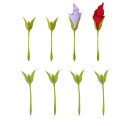 Christmas deCor for tables online shopping - Christmas restaurant Bloom Napkin Holders for Tables Green Stemmed Plastic Twist Flower Buds Serviette Holders Plus Party Decor Arrangements