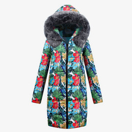 Floral Longer Hooded Winter Parka Australia - Faux Fur Print Flowers Leaf Women Long Parkas 2018 Winter Female Hooded Thick Cotton Wadded Jackets Woman's Harajuku Overcoat
