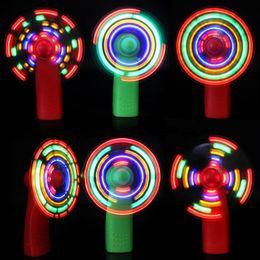 $enCountryForm.capitalKeyWord Australia - Plastic LED Color Fan Matrix Portable Mini Air Cool Fan Green Blue Light Up Toys Q0577