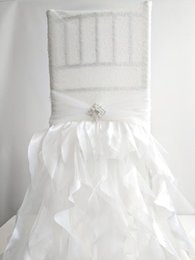 $enCountryForm.capitalKeyWord Australia - Custom Made Sequined Lace Crystals Ruffles Wedding Chair Covers Beautiful Cheap Wedding Party Decorations Vintage Chair Sashes Supplies C06