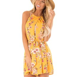 Casual Floral Women Jumpsuits UK - Women Lace Up Floral Print Halter Playsuit Yellow Bandage Sexy Backless Jumpsuit Casual Party Playsuit Vestidos 2019 Fashion