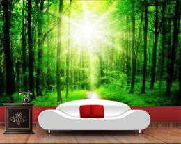 SunShine houSe online shopping - Custom size d photo wallpaper mural living room bed room forest sunshine path d picture sofa TV backdrop wallpaper mural non woven sticker