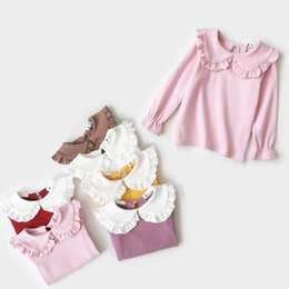 doll girl Australia - Korean Style Cute Shirts for Girls Stardand Length Cotton Baby Girl Clothes Doll Collar Long Sleeve Shirts 6 color for choose 19083101