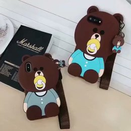 China For Iphone 6S Max Phone Case Bear Cartoon Pacifier Lanyard 6 7 8 X Plus All Inclusive Silicone Soft Cell Phone Cases cheap pacifier case suppliers