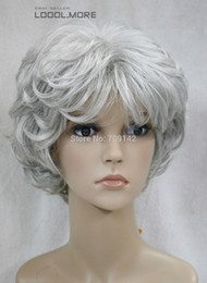 kanekalon lace wigs NZ - White & Black Mix Short Curly Women Female Lady Hair Full Wig queen Kanekalon hair no lace front wigs Free deliver