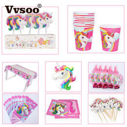banner gift Australia - Vvsoo Unicorn Theme Party Decor Unicorn Banner Tablecloth Gifts Bags Invitation Card Cupcake Topper Ballons Festival Supplies