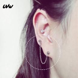 $enCountryForm.capitalKeyWord Australia - UVW049 2pc Boho Stainless Steel Barbell Long Chain Stud Earrings Double Hole Helix Ear Bone Piercing Earrings for Women Jewelry