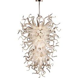 venda por atacado Modernas grandes luzes brancas candelabros 52inch decoração de casamento arte candelabro conduzido fonte de luz 100% mão soprada pingentes lâmpadas iluminação