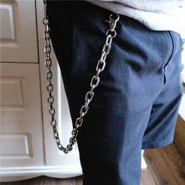 Boy Chain Pants Australia - 66cm Long Metal Wallet Belt Chain Rock Punk Trousers Hipster Pant Jean Keychain Silver Ring Clip Keyring Mens Hip Hop Jewelry