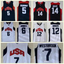 Großhandel 2012 USA Dream Team Ten 5 Kevin Durant 6 LeBron James 7 Westbrook 12 Harden 10 Bryant 13 Paul 15 Carmelo Anthony College-Basketballtrikots